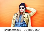 fashion pretty blonde woman... | Shutterstock . vector #394810150