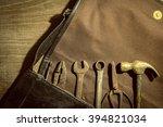 work tools in bag on wood...   Shutterstock . vector #394821034