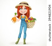 cute young farmer girl with a... | Shutterstock .eps vector #394821904