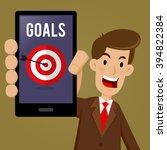 businessman holding smart phone ... | Shutterstock .eps vector #394822384