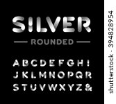 silver rounded font. vector... | Shutterstock .eps vector #394828954