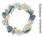 tropical floral wreath | Shutterstock .eps vector #394848256