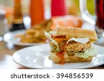waffles sandwich with fried... | Shutterstock . vector #394856539