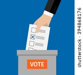 concept of voting. hand putting ... | Shutterstock .eps vector #394868176