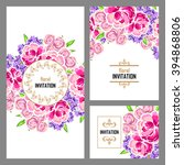 invitation with floral... | Shutterstock .eps vector #394868806