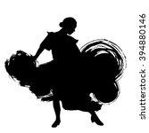 woman in long dress stay in... | Shutterstock .eps vector #394880146