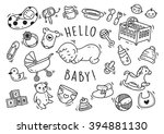 baby toys and accessories doodle | Shutterstock .eps vector #394881130