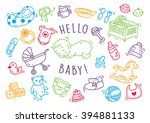 baby toys and accessories doodle | Shutterstock .eps vector #394881133