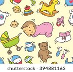 baby toys and accessories... | Shutterstock .eps vector #394881163
