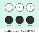 set of day and night clock for... | Shutterstock .eps vector #394886926