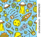 cartoon space ufo aliens... | Shutterstock .eps vector #394889650