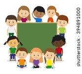 kids around chalkboard | Shutterstock . vector #394891000