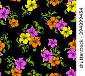 tropical flower pattern | Shutterstock .eps vector #394899454