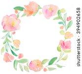 round spring watercolor flower... | Shutterstock . vector #394902658