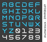 square futuristic alphabet and... | Shutterstock .eps vector #394908169