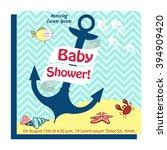 nautical baby shower card...   Shutterstock .eps vector #394909420