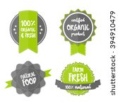 set of fresh organic labels and ... | Shutterstock .eps vector #394910479