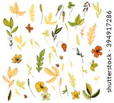 vector flowers  leaves and... | Shutterstock .eps vector #394917286