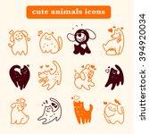 flat pet logo. dog  cat simple...   Shutterstock . vector #394920034