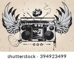 winged boombox monochrome... | Shutterstock .eps vector #394923499