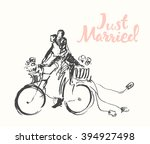 hand drawn happy bride and... | Shutterstock .eps vector #394927498