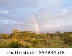Rainbow Over Savanna Plain At...