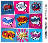 Stock vector comic bubbles set expressions bom cool pow oops wow dream omg crash yeah halftone 394941640