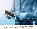 double exposure of two... | Shutterstock . vector #394951378