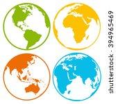 set of earth planet globe logo... | Shutterstock .eps vector #394965469