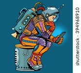 retro astronaut with a... | Shutterstock .eps vector #394968910