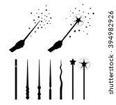 magic wands set. silhouettes...   Shutterstock .eps vector #394982926