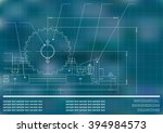 mechanical drawings on a blue... | Shutterstock .eps vector #394984573