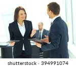businessman and businesswoman... | Shutterstock . vector #394991074