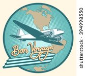 bon voyage abstract retro plane ... | Shutterstock .eps vector #394998550