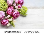 Stock photo bouquet of flowers copy space blank space for greetings 394999423