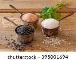 three different types of salt... | Shutterstock . vector #395001694