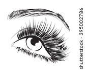 lovely eye with long eyelashes... | Shutterstock .eps vector #395002786