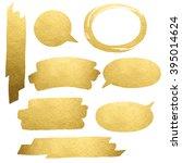 golden brush strokes isolated... | Shutterstock . vector #395014624