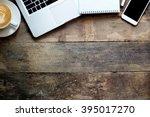 office stuff with smart phone... | Shutterstock . vector #395017270