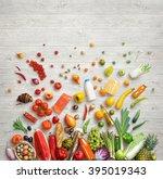 organic food background. studio ... | Shutterstock . vector #395019343
