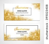 Gold wedding glitter invitation for weddings, background, anniversary marriage engagement. Golden vector texture. greeting card. Save the date. Light bright sparkles. For flyer, invite, fashion, shine