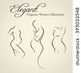 set of elegant pregnant woman... | Shutterstock .eps vector #395033548
