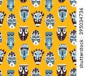 doodle african masks pattern.... | Shutterstock .eps vector #395034736