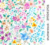 watercolor floral pattern | Shutterstock . vector #395041936