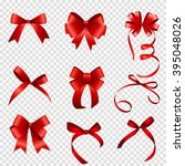 set of red bow vector... | Shutterstock .eps vector #395048026