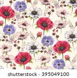 hand drawn watercolor seamless... | Shutterstock . vector #395049100