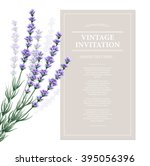 vintage card with lavender... | Shutterstock .eps vector #395056396