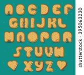 sweet font. cookies with... | Shutterstock .eps vector #395063230