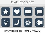 flat icons set on grey... | Shutterstock .eps vector #395070193