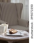 banana  cake and cup of tea  on ...   Shutterstock . vector #395072350